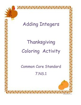 Thanksgiving Coloring Activity - Adding Integers 7.NS.1