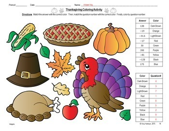 Thanksgiving Coloring Activity - Solving One-Step Equations (Two Options)