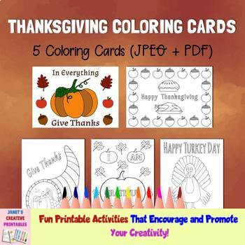 Thanksgiving Coloring Cards - Set of 5