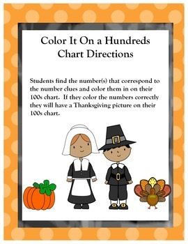 Color It On The Hundreds Chart Thanksgiving Version