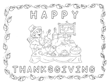 Thanksgiving Coloring Page • Food at the Table