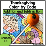 Thanksgiving Coloring Pages Math Addition and Subtraction Color by Number