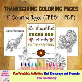 Thanksgiving Coloring Pages - Set of 5