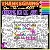 Growth Mindset Thanksgiving Quote Coloring Pages