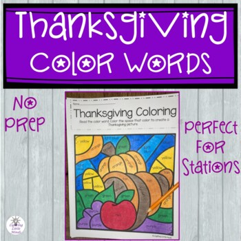 Thanksgiving Coloring with Color Words