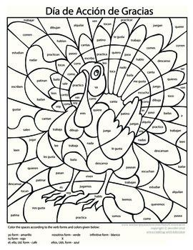 Spanish Thanksgiving Coloring - Present Tense
