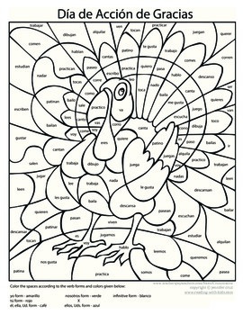 Spanish Thanksgiving Coloring - Present Tense