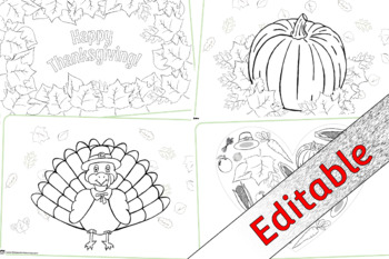 Thanksgiving Colouring Sheets/Pages - Editable