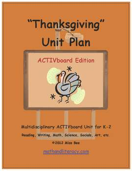 """Thanksgiving"" Common Core Aligned Math and Literacy Unit - ACTIVboard EDITION"