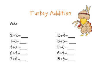 Thanksgiving Common Core Math Addition/Subtraction Sheets