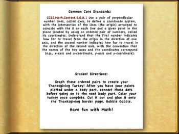 Creative Common Core Math Fun: Create a Thanksgiving Turkey Coordinating Pairs