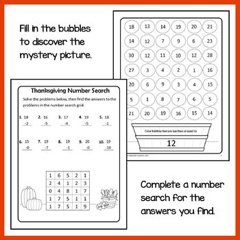 Thanksgiving Math Puzzles - 1st Grade Common Core