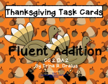 Thanksgiving Common Core Task Cards 2.OA.2 (Fluent Addition Multiple Strategies)