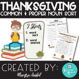 Thanksgiving Common & Proper Noun Sort