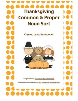 Thanksgiving Common and Proper Noun Sort