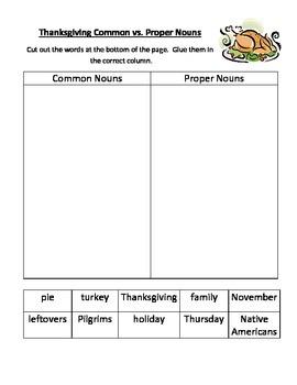 Thanksgiving Common and Proper Nouns Cut/Paste