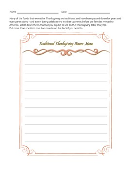 Thanksgiving Compare and Contrast Activity for Groups or Individuals