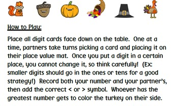 Thanksgiving Comparing 3 Digit Numbers Game