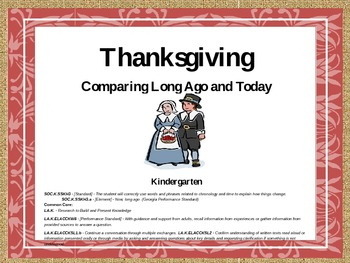 Thanksgiving Comparing Long Ago and Today -Kindergarten