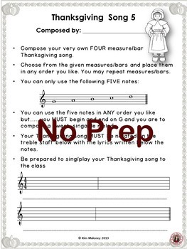 Music Composition Activities for Thanksgiving