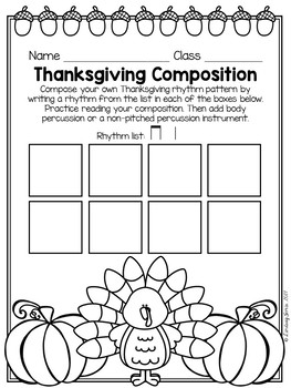 Thanksgiving Composition Pages and Mini Lessons