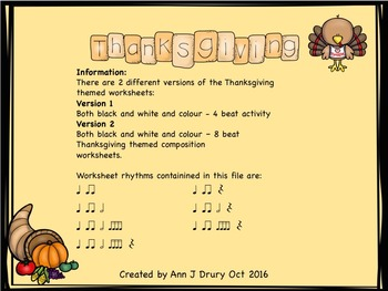 Thanksgiving - Composition Worksheets to Practice Rhythm