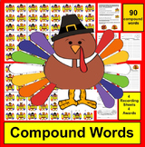 Thanksgiving Activities - Compound Words - 90 Turkey Puzzles!