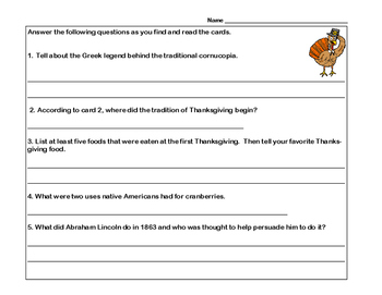 Reading Comprehension-Thanksgiving- 10 Facts-  -Scavenger Hunt