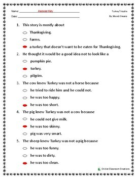 Thanksgiving Comprehension Test: Turkey Trouble- First or Second Grade