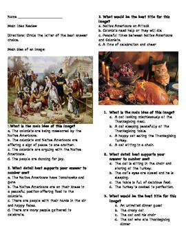 Thanksgiving Comprehension and Main idea review