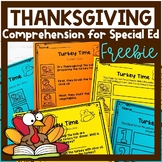 Thanksgiving Comprehension for Special Ed | FREEBIE | Spec