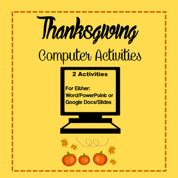 Thanksgiving Computer Activities - 2 Lessons