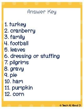 Thanksgiving Context Clue Nonsense Word Activity