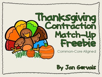 Thanksgiving Contraction Match-Up Freebie