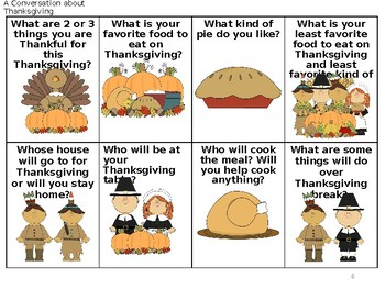 *UPDATED* Thanksgiving Conversation, Problem Solving and Language Packet No Prep
