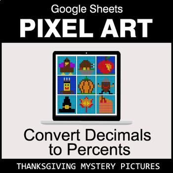 Thanksgiving - Convert Decimals to Percents - Google Sheets Pixel Art
