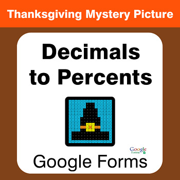 Thanksgiving: Convert Decimals to Percents - Mystery Picture - Google Forms