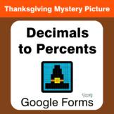 Thanksgiving: Convert Decimals to Percents - Mystery Pictu