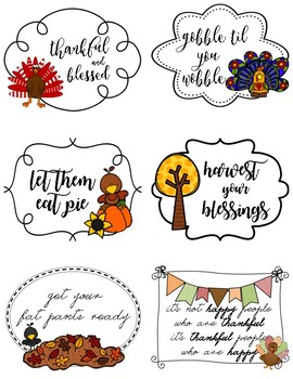 Thanksgiving Cookie Bag Tags