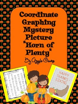 """Thanksgiving Math Coordinate Graphing Mystery Picture """"Horn of Plenty"""""""