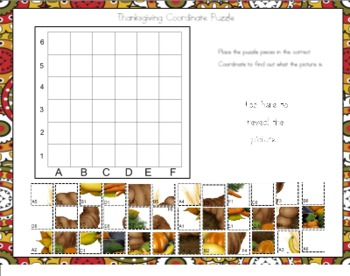 Thanksgiving Coordinate Puzzle for Smart Board