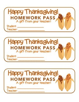 """Thanksgiving"" Corn Friends - Homework Pass –Holiday FUN! (color & black line)"