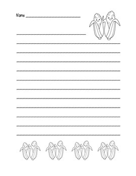 """Thanksgiving Corn Friends"" Writing Sheets (black line)"