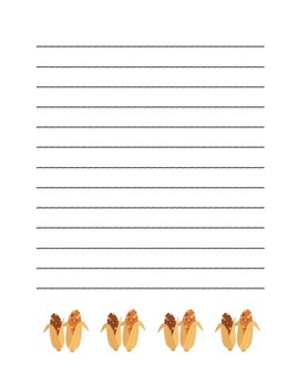 """Thanksgiving Corn Friends"" Writing Sheets  (color)"