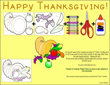 Thanksgiving Cornucopia Project to Color, Cut & Glue