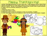 Thanksgiving Cornucopia Project to Color, Cut & Glue
