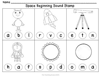 Space Beginning & Ending Sounds Stamp, Clip & Learn