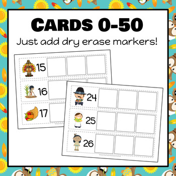 Thanksgiving Count On Strips and Worksheets 0-50