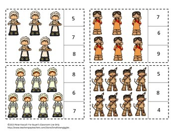 Thanksgiving Counting to 20 Count and Clip Kindergarten Math Special Education