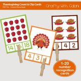Thanksgiving Count and Clip Cards - numbers 1 - 20